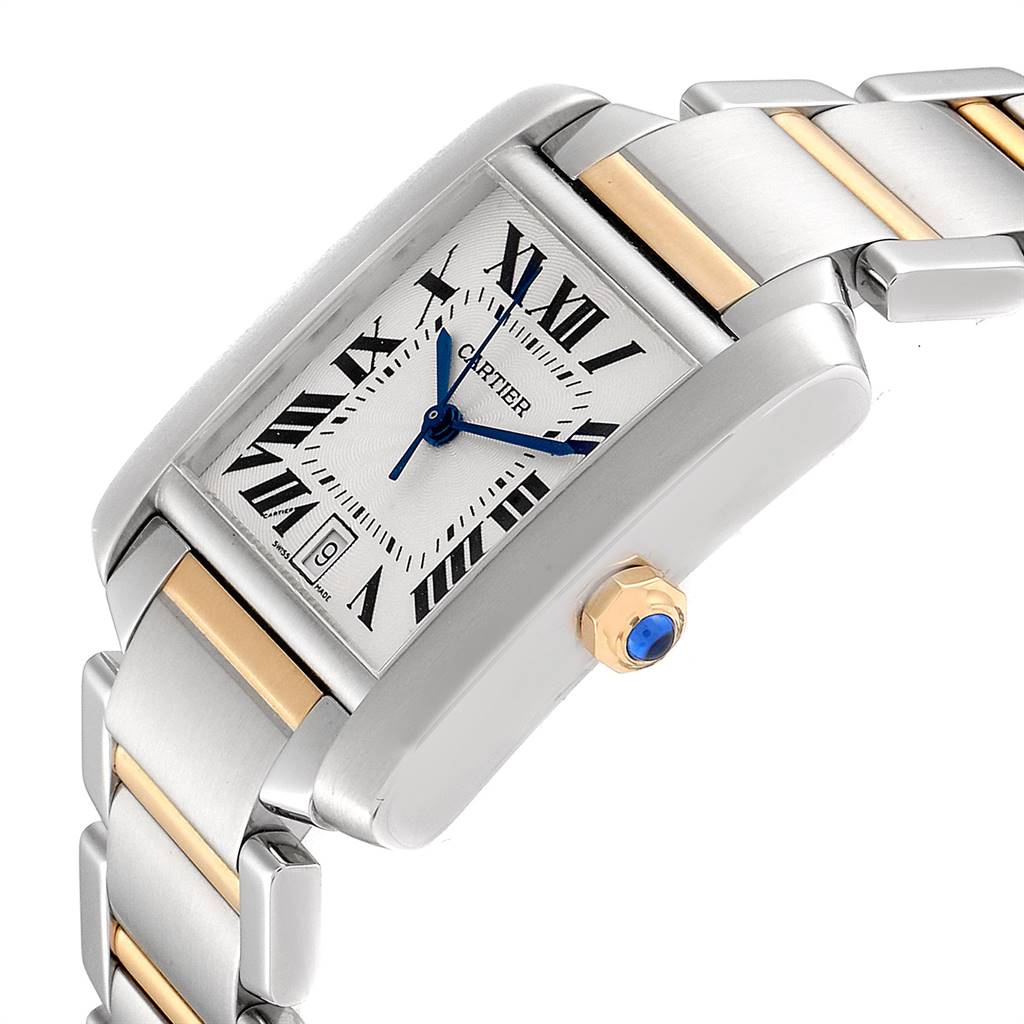 25378 Cartier Tank Francaise Steel Yellow Gold Large Unisex Watch W51005Q4 SwissWatchExpo