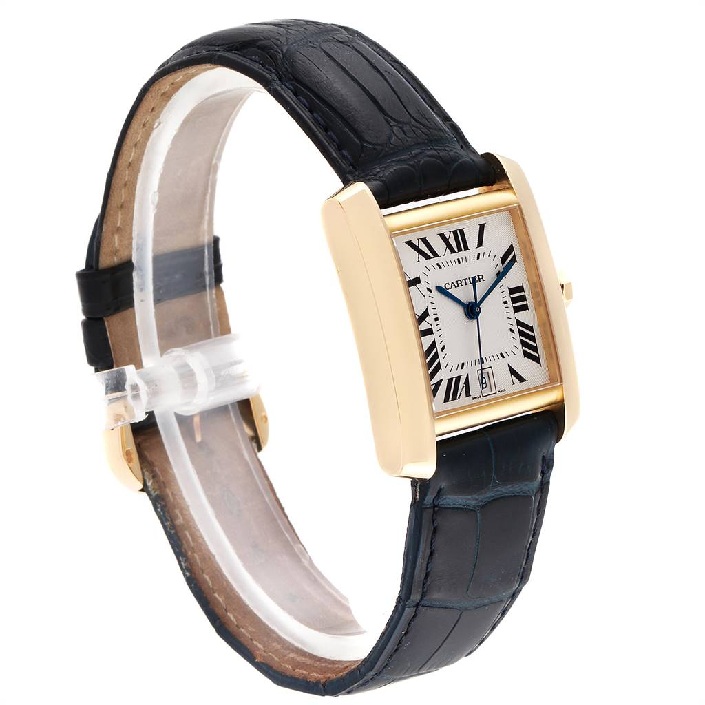 Cartier Tank Francaise Yellow Gold Black Strap Mens Watch W5000156 SwissWatchExpo