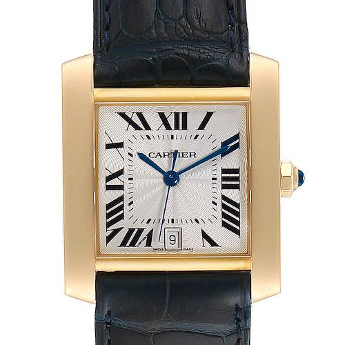 Photo of Cartier Tank Francaise Yellow Gold Black Strap Mens Watch W5000156