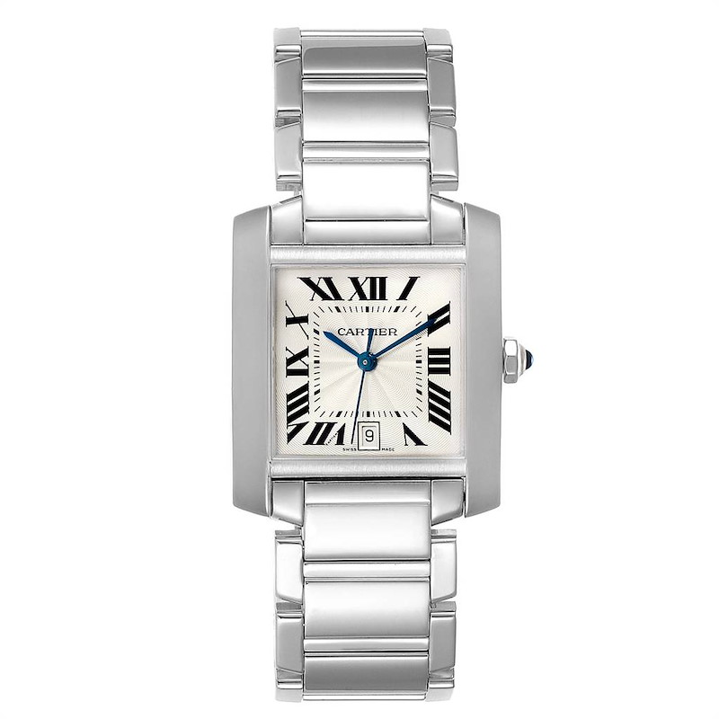 Cartier Tank Francaise Large 18K White Gold Unisex Watch W50011S3 SwissWatchExpo
