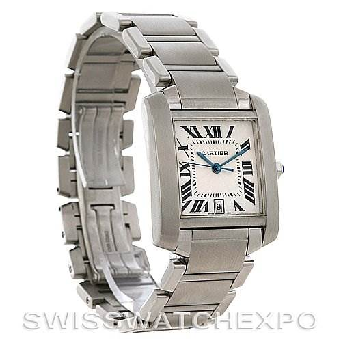 2861 Cartier  Tank Francaise Large Steel Watch W51002Q3 SwissWatchExpo