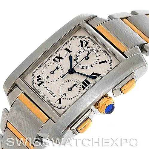 2881 Cartier  Tank Francaise Men's Chrongraph Watch W51004Q4 SwissWatchExpo