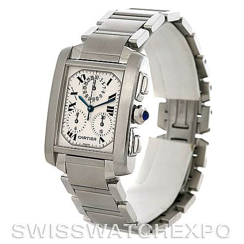 3022 Cartier Tank Francaise Steel Chronograph Watch W51001Q3 SwissWatchExpo
