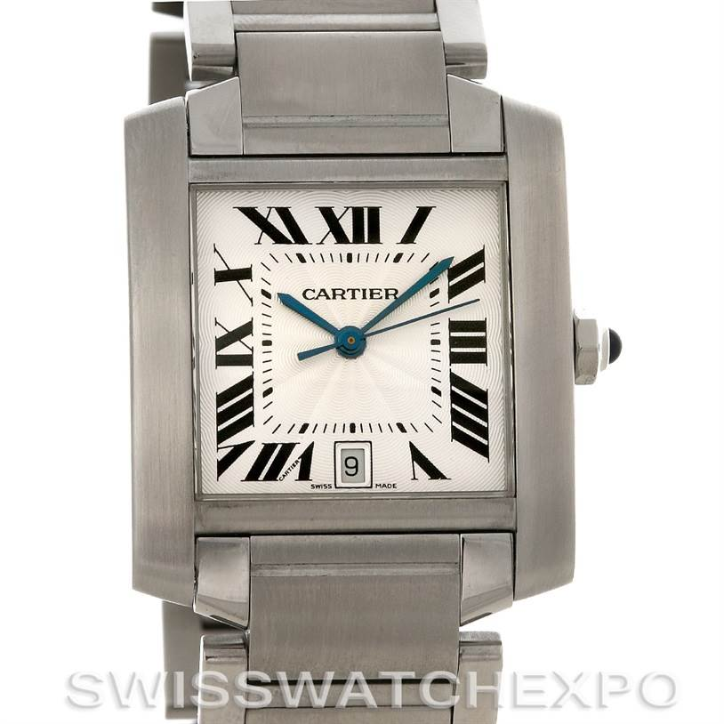 3056 Cartier Tank Francaise Large Steel Watch W51002Q3 SwissWatchExpo