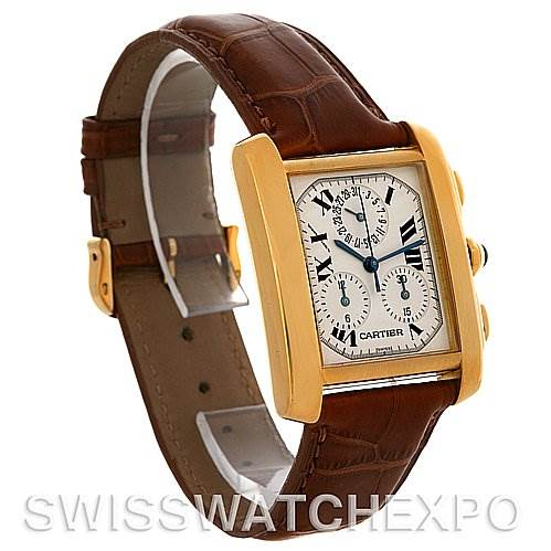 4034 Cartier Tank Francaise Chronograph 18K Yellow Gold Watch W5000556 SwissWatchExpo