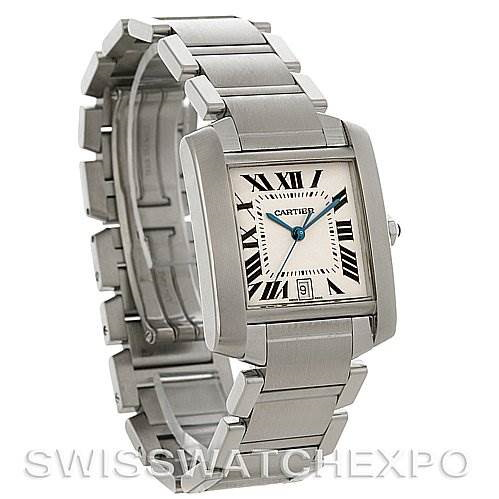 Cartier Tank Francaise Large Steel Watch W51002Q3 SwissWatchExpo