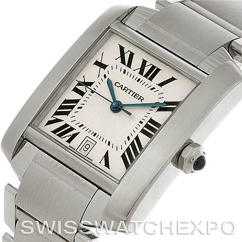 4123 Cartier Tank Francaise Large Steel Watch W51002Q3 SwissWatchExpo