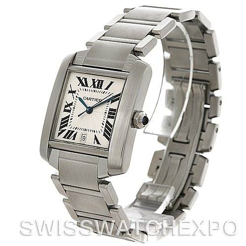 4458 Cartier Tank Francaise Large Steel Watch W51002Q3 SwissWatchExpo