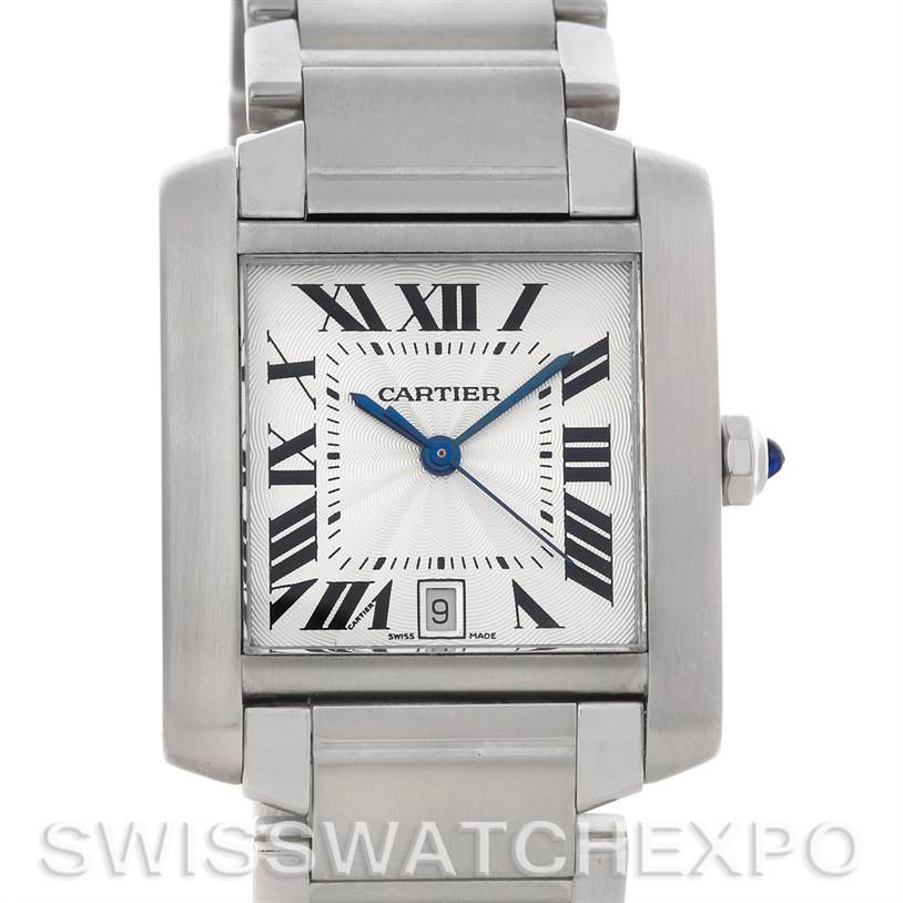 4477 Cartier Tank Francaise Large Steel Watch W51002Q3 SwissWatchExpo