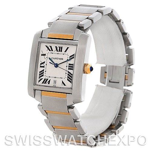 4552 Cartier Tank Francaise Large Steel and 18K Watch W51005Q4 SwissWatchExpo
