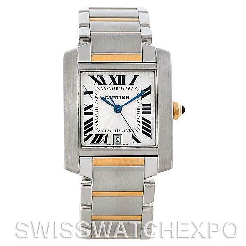 5307 Cartier Tank Francaise Large Steel and 18K Watch W51005Q4 SwissWatchExpo