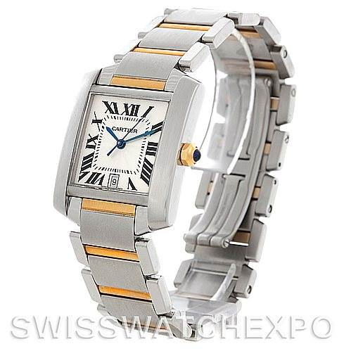 5413 Cartier Tank Francaise Large Steel and 18K Watch W51005Q4 SwissWatchExpo