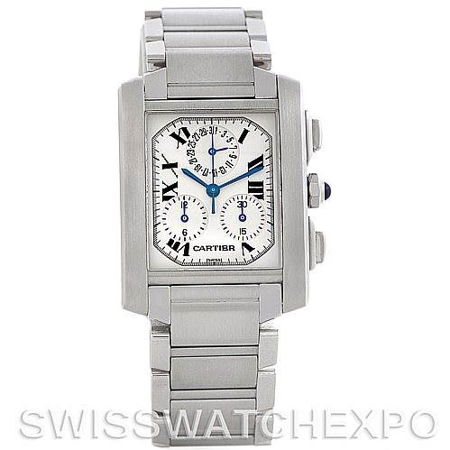 5644 Cartier Tank Francaise Steel Chronograph Watch W51001Q3 SwissWatchExpo