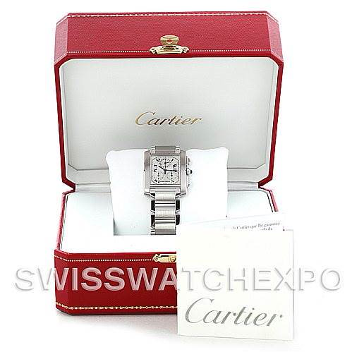 Cartier Tank Francaise Steel Chronograph Watch W51001Q3 SwissWatchExpo