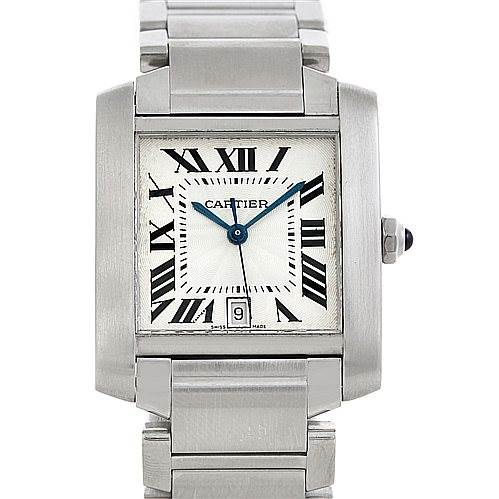 5743 Cartier Tank Francaise Large Steel Watch W51002Q3 SwissWatchExpo