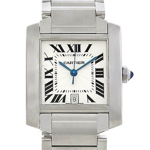 5220 Cartier Tank Francaise Large Steel Watch W51002Q3 SwissWatchExpo