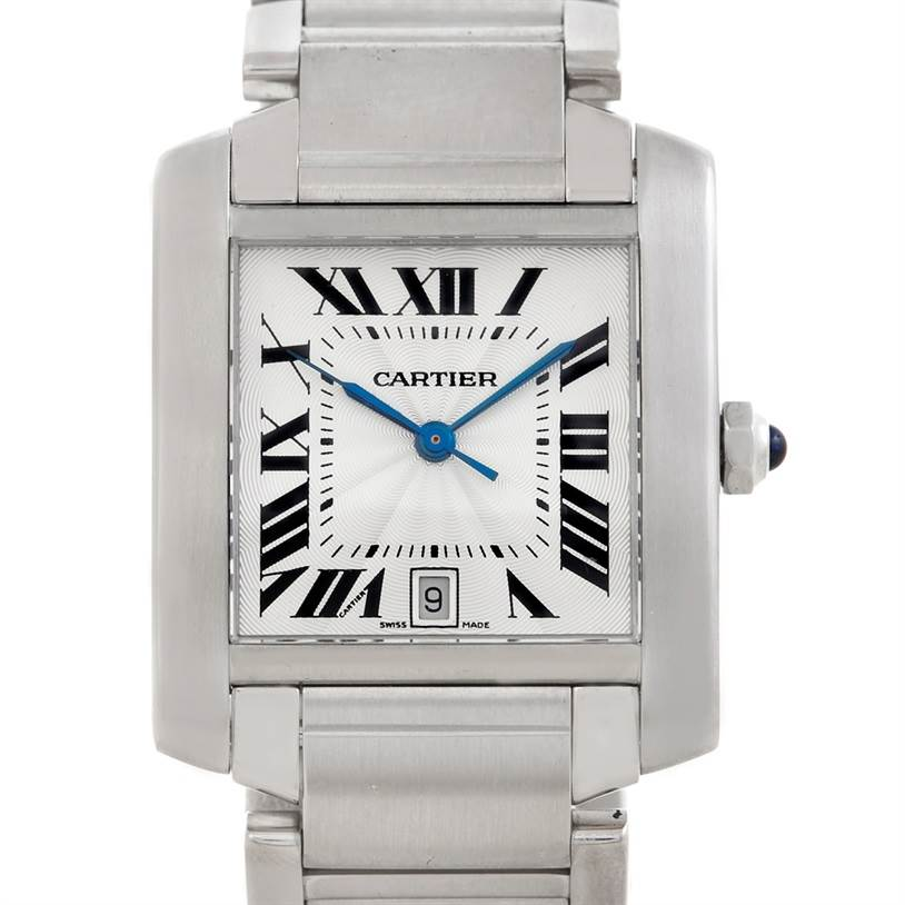 5778 Cartier Tank Francaise Large Steel Watch W51002Q3 SwissWatchExpo