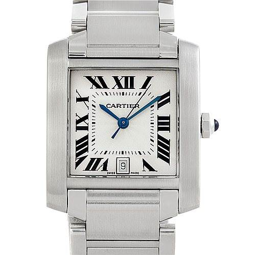 5831 Cartier Tank Francaise W51002Q3 Large Steel Watch SwissWatchExpo