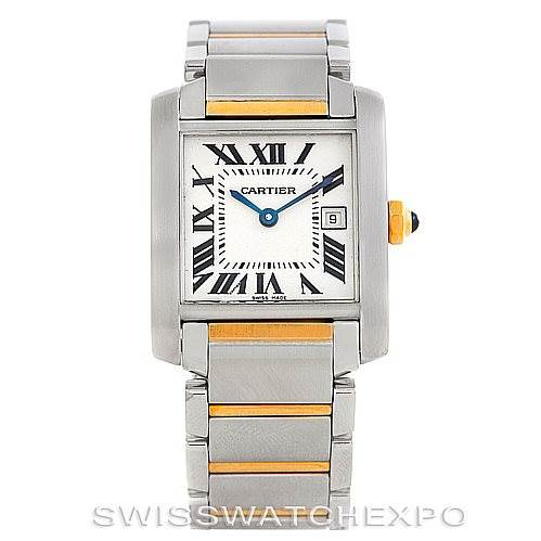 6284 Cartier Tank Francaise Midsize Steel 18k Gold W51012Q4 SwissWatchExpo