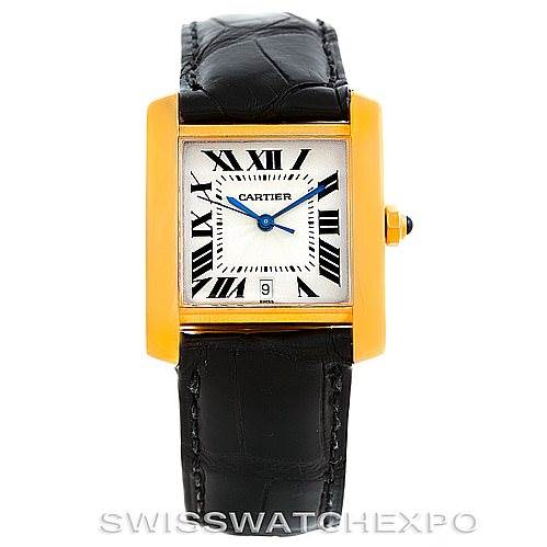 6300 Cartier Tank Francaise Large 18K Yellow Gold Watch W5000156 SwissWatchExpo