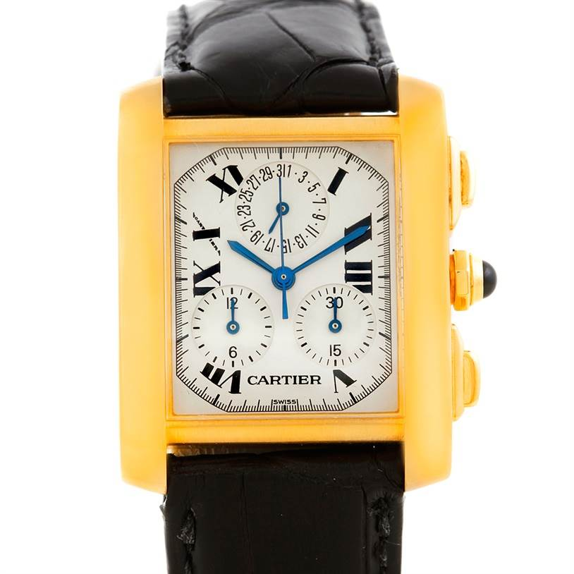 6819A Cartier Tank Francaise Chronograph 18K Yellow Gold Watch W5000556 SwissWatchExpo