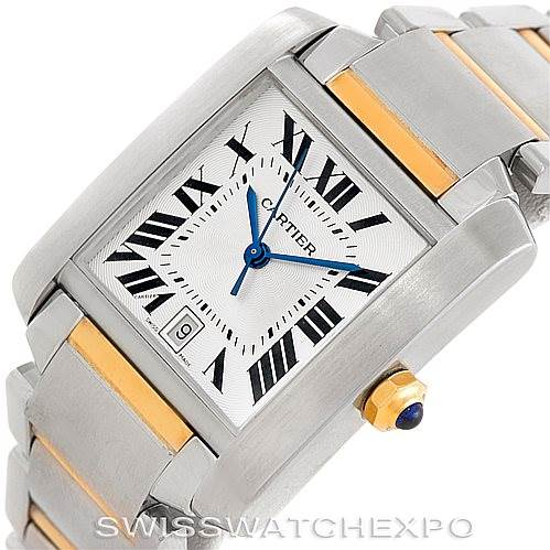 6087 Cartier Tank Francaise Large Steel and 18K Watch W51005Q4 SwissWatchExpo