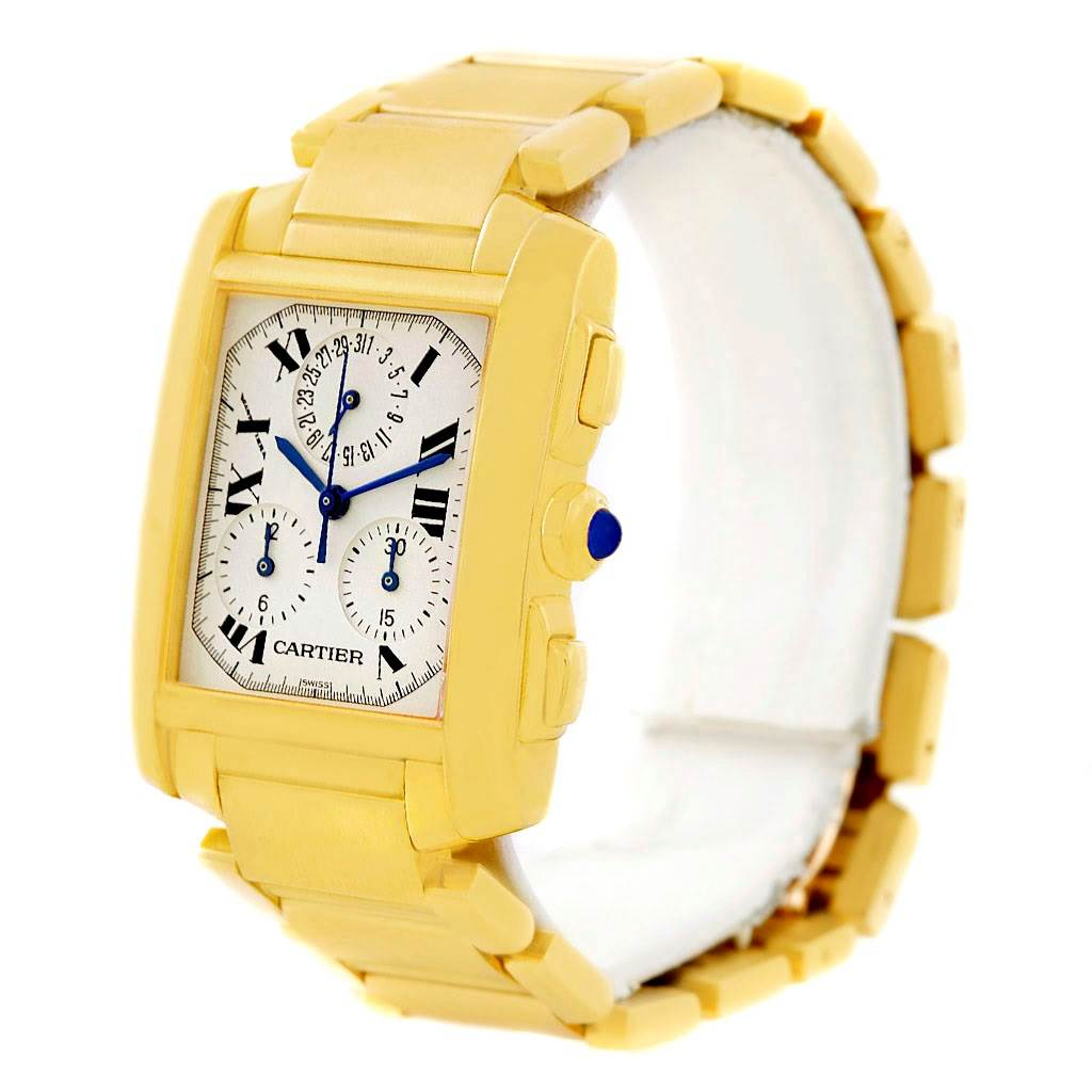 7024 Cartier Tank Francaise Chronograph 18K Yellow Gold Watch W50005R2 SwissWatchExpo