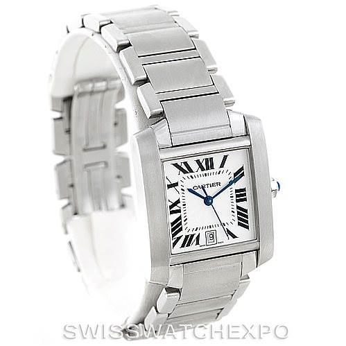 6282 Cartier Tank Francaise Large Steel Watch W51002Q3 SwissWatchExpo