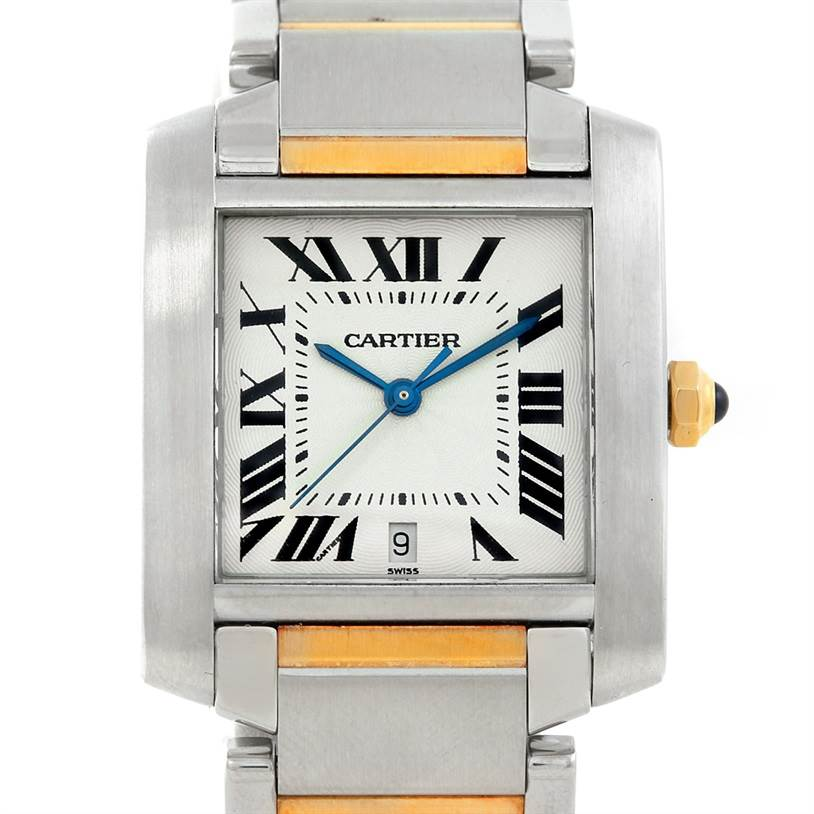 7265 Cartier Tank Francaise Large Steel and 18K Watch W51005Q4 SwissWatchExpo