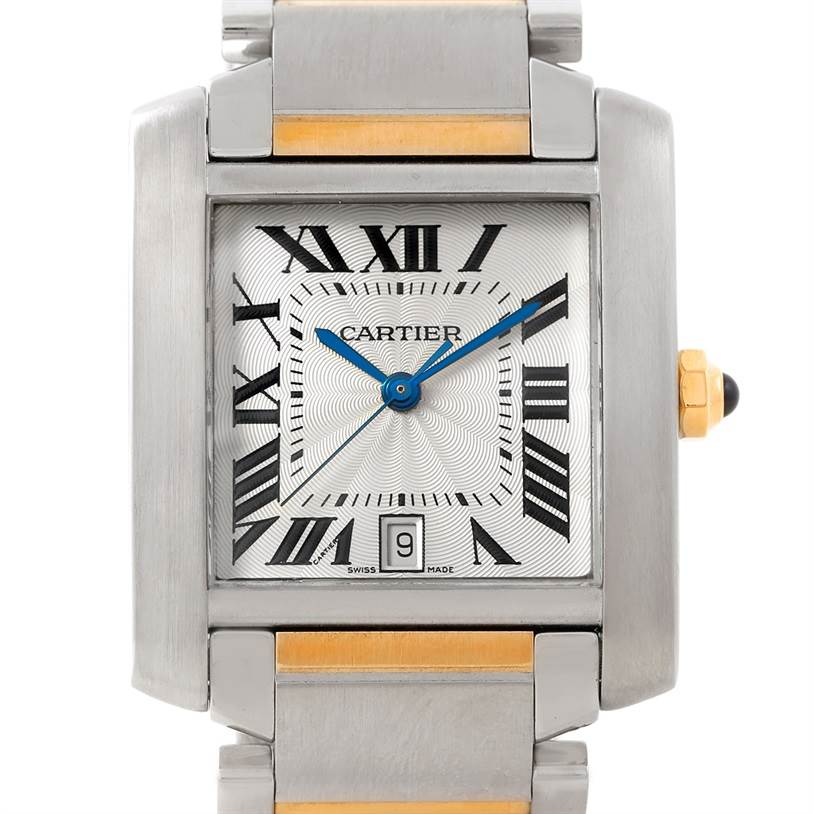 7269 Cartier Tank Francaise Large Steel and 18K Watch W51005Q4 SwissWatchExpo
