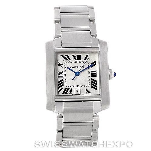 7368 Cartier Tank Francaise Large Steel Watch W51002Q3 SwissWatchExpo