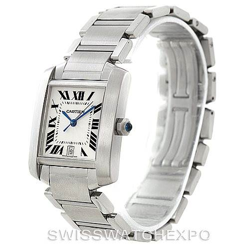 7596 Cartier Tank Francaise Large Steel Watch W51002Q3 SwissWatchExpo