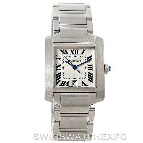 7636 Cartier Tank Francaise Large Steel Watch W51002Q3 SwissWatchExpo