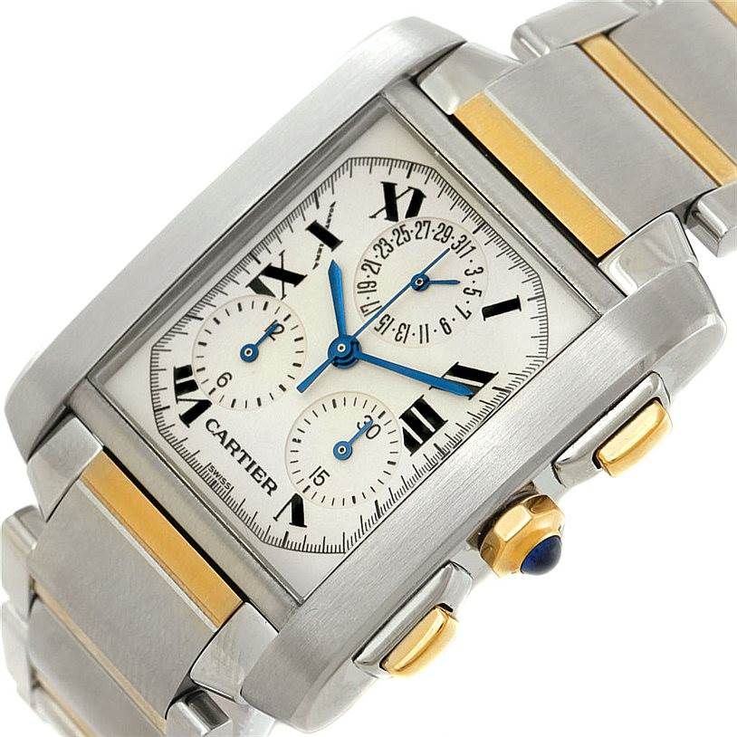 7639 Cartier Tank Francaise Mens Chrongraph Watch W51004Q4 SwissWatchExpo