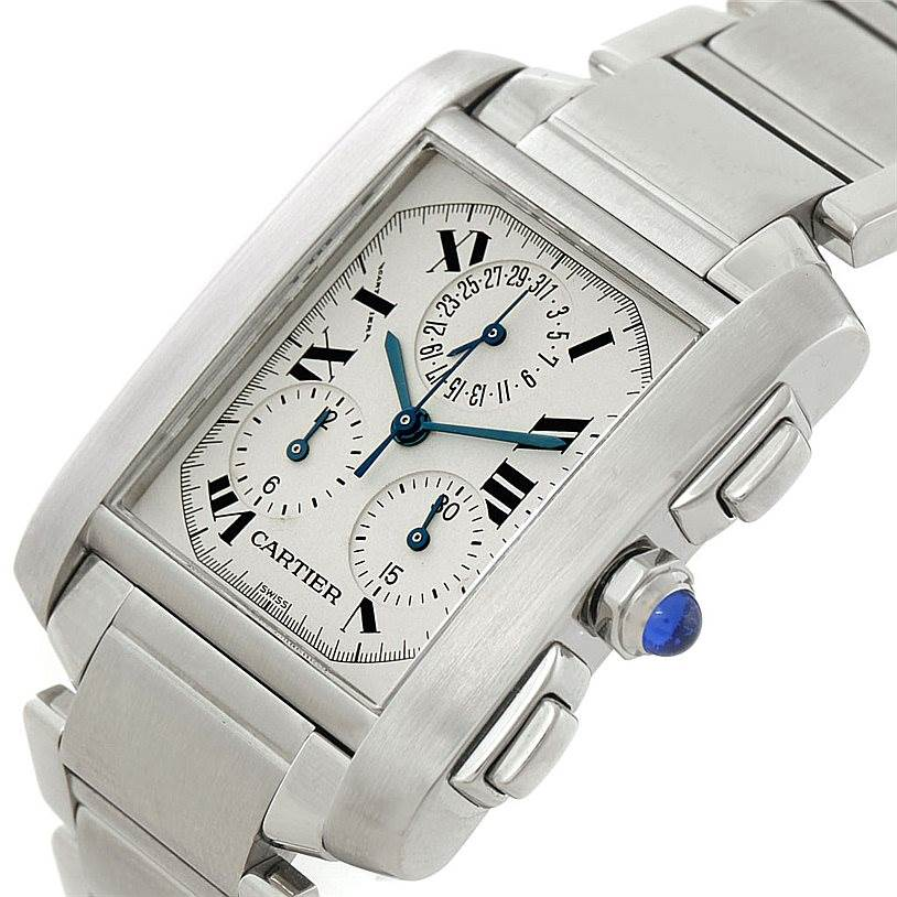 7399 Cartier Tank Francaise Steel Chronoflex Watch W51001Q3 SwissWatchExpo