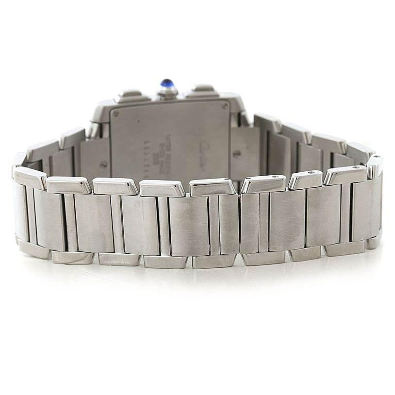 7399 Cartier Tank Francaise Steel Chronoflex Watch W51001Q3 SwissWatchExpo