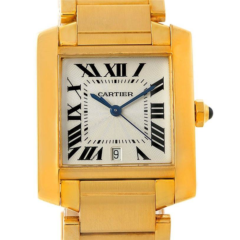 7711 Cartier Tank Francaise Large 18K Yellow Gold Watch W50001R2 SwissWatchExpo