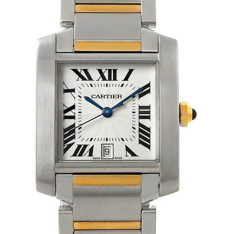 7779 Cartier Tank Francaise Large Steel 18K Yellow Gold Watch W51005Q4 SwissWatchExpo