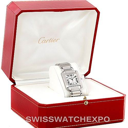 7865 Cartier Tank Francaise Large Steel Watch W51002Q3 SwissWatchExpo