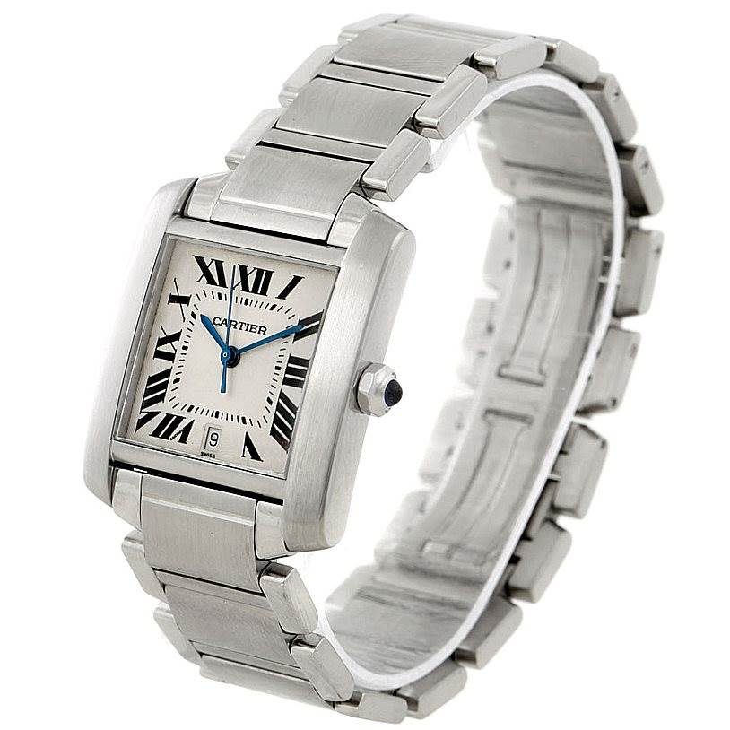 8009 Cartier Tank Francaise Large Steel Watch W51002Q3 SwissWatchExpo