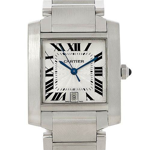 7841 Cartier Tank Francaise Large Steel Watch W51002Q3 SwissWatchExpo
