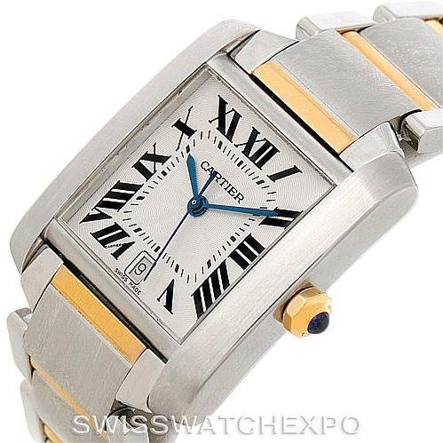 7930 Cartier Tank Francaise Large Steel 18K Yellow Gold Watch W51005Q4 SwissWatchExpo