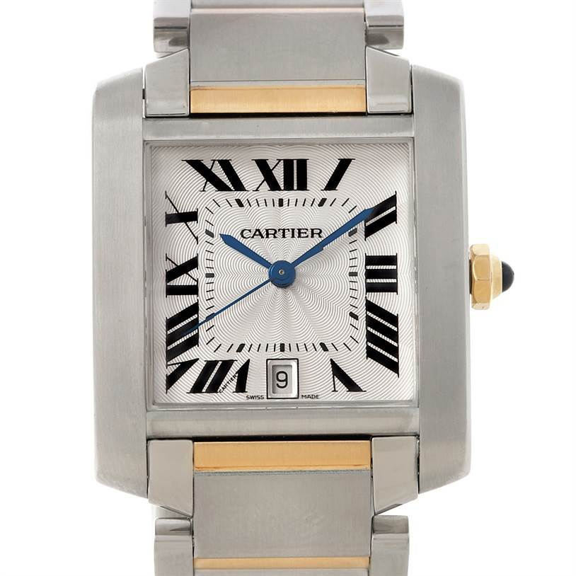 8024 Cartier Tank Francaise Large Steel 18K Yellow Gold Watch W51005Q4 SwissWatchExpo