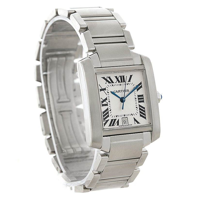 8233 Cartier Tank Francaise Large Steel Watch W51002Q3 SwissWatchExpo