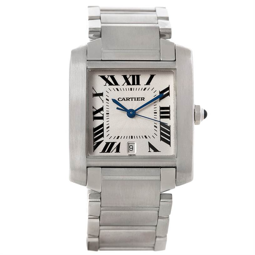 8231 Cartier Tank Francaise Large Steel Watch W51002Q3 SwissWatchExpo