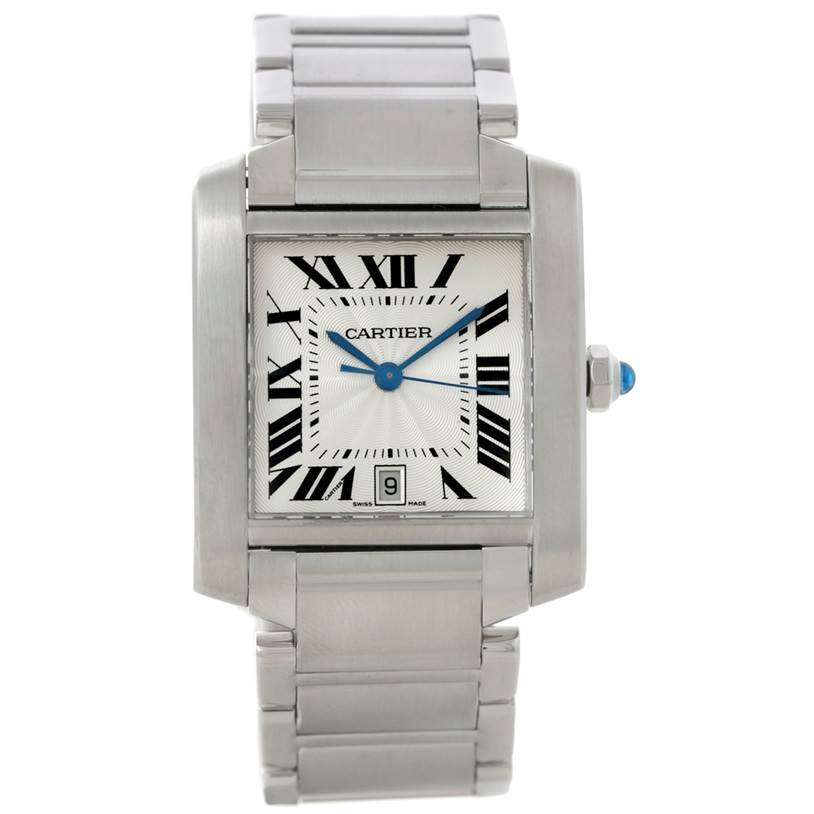 8455 Cartier Tank Francaise Large Steel Watch W51002Q3 SwissWatchExpo