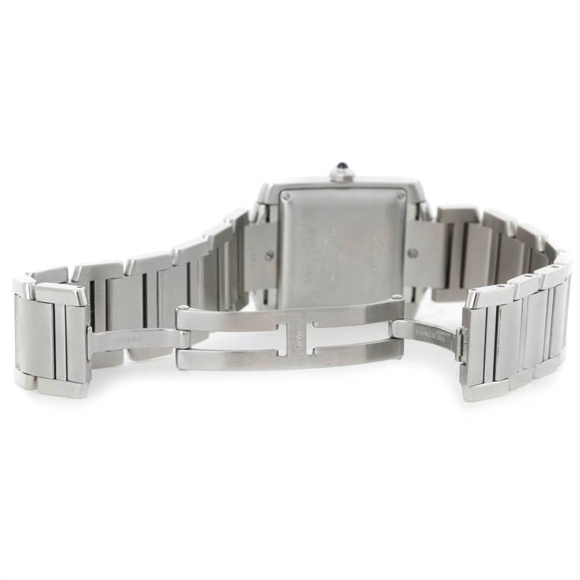 8718 Cartier Tank Francaise Large Stainless Steel Mens Watch W51002Q3 SwissWatchExpo