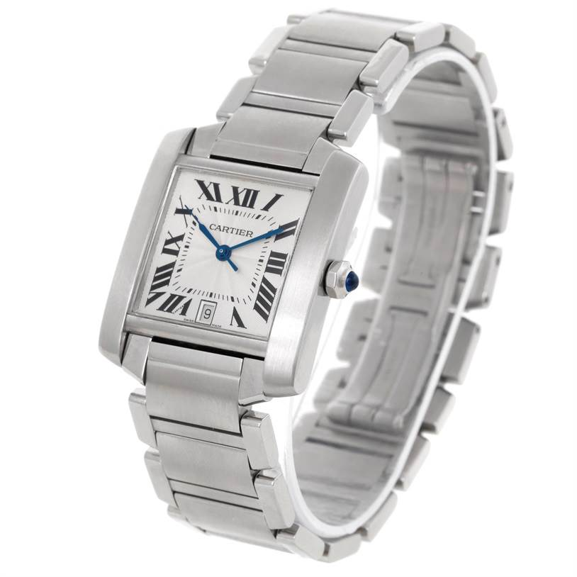 Cartier Tank Francaise Large Stainless Steel Mens Watch W51002Q3 SwissWatchExpo