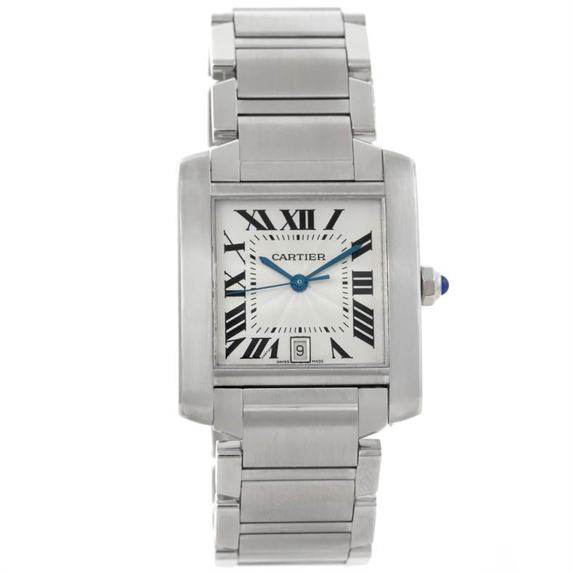 9360 Cartier Tank Francaise Large Stainless Steel Mens Watch W51002Q3 SwissWatchExpo