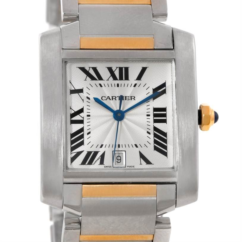 9453 Cartier Tank Francaise Large Steel 18K Yellow Gold Watch W51005Q4 SwissWatchExpo